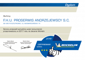 certyfikat michelin 2018